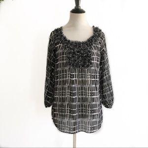 Anne Klein sheer patterned black & white shirt